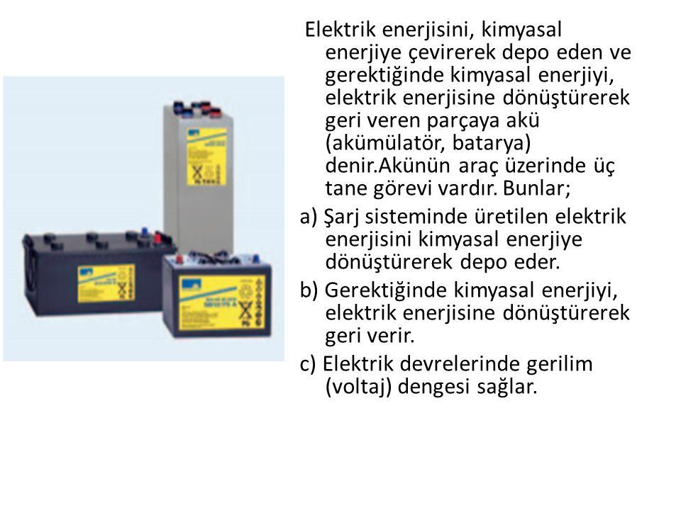 Elektrik enerjisini, kimyasal enerjiye çevirerek depo eden ve gerektiğinde kimyasal enerjiyi, elektrik enerjisine dönüştürerek geri veren parçaya akü (akümülatör, batarya) denir.Akünün araç üzerinde üç tane görevi vardır.