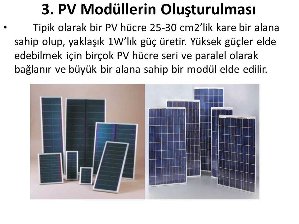 3. PV Modüllerin Oluşturulması • Tipik olarak bir PV hücre 25-30 cm2'lik kare bir alana sahip olup, yaklaşık 1W'lık güç üretir. Yüksek güçler elde ede