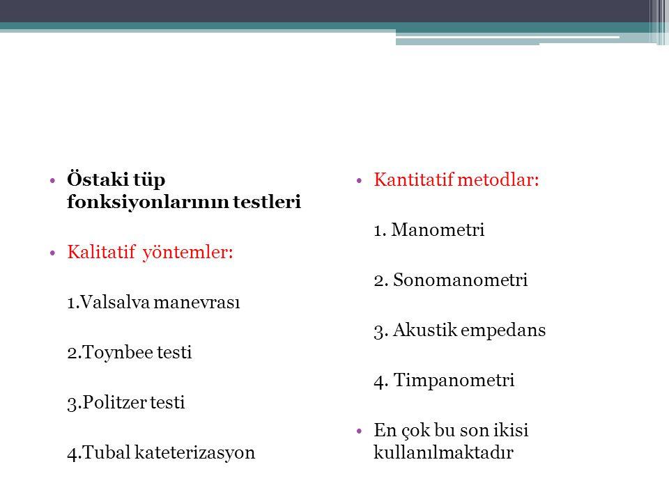 •Östaki tüp fonksiyonlarının testleri •Kalitatif yöntemler: 1.Valsalva manevrası 2.Toynbee testi 3.Politzer testi 4.Tubal kateterizasyon •Kantitatif m