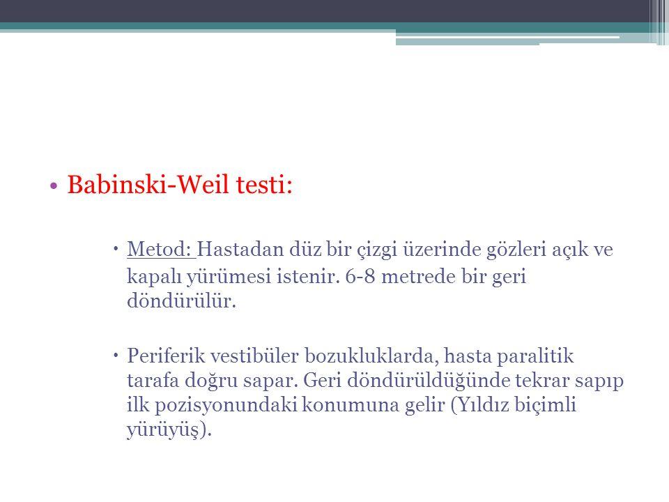 •Babinski-Weil testi:  Metod: Hastadan düz bir çizgi üzerinde gözleri açık ve kapalı yürümesi istenir. 6-8 metrede bir geri döndürülür.  Periferik v