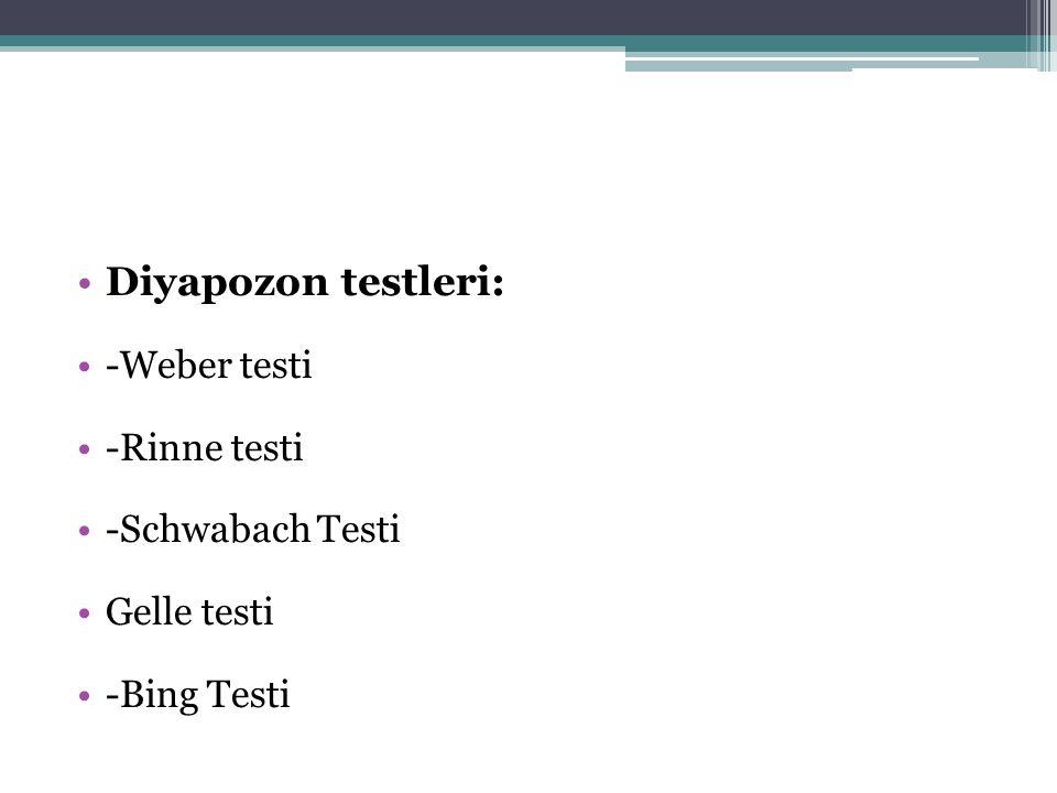 •Diyapozon testleri: •-Weber testi •-Rinne testi •-Schwabach Testi •Gelle testi •-Bing Testi