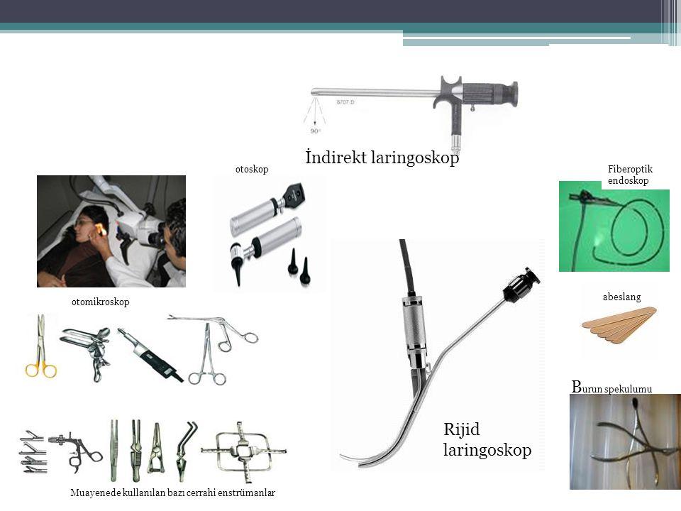 otomikroskopi Muayenede kullanılan bazı cerrahi enstrümanlar Fiberoptik endoskop abeslang otoskop B urun spekulumu Rijid laringoskop otomikroskop İndi