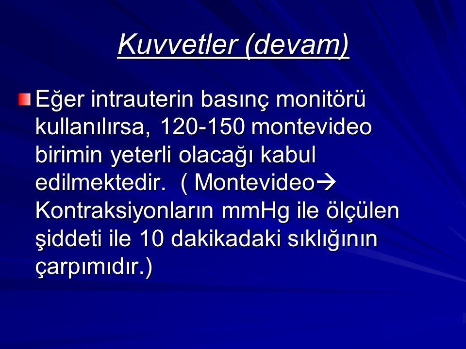 Kuvvetler (devam) Eğer intrauterin basınç monitörü kullanılırsa, 120-150 montevideo birimin yeterli olacağı kabul edilmektedir. ( Montevideo  Kontrak