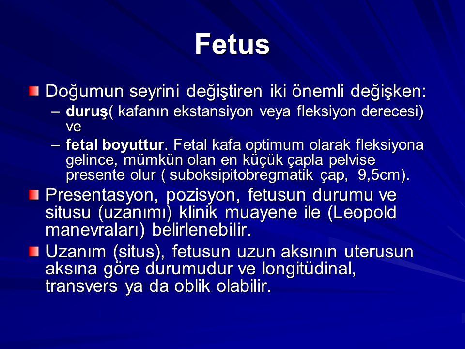 Fetus Doğumun seyrini değiştiren iki önemli değişken: –duruş( kafanın ekstansiyon veya fleksiyon derecesi) ve –fetal boyuttur. Fetal kafa optimum olar