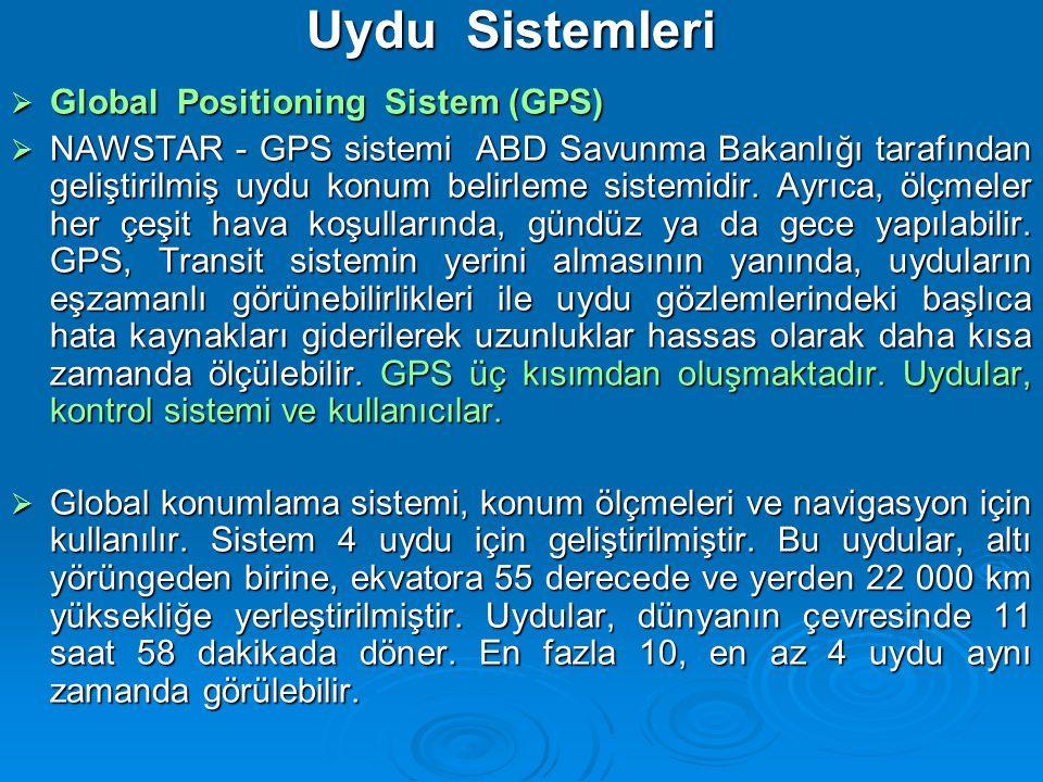 Uydu Sistemleri  Global Positioning Sistem (GPS)  NAWSTAR - GPS sistemi ABD Savunma Bakanlığı tarafından geliştirilmiş uydu konum belirleme sistemidir.