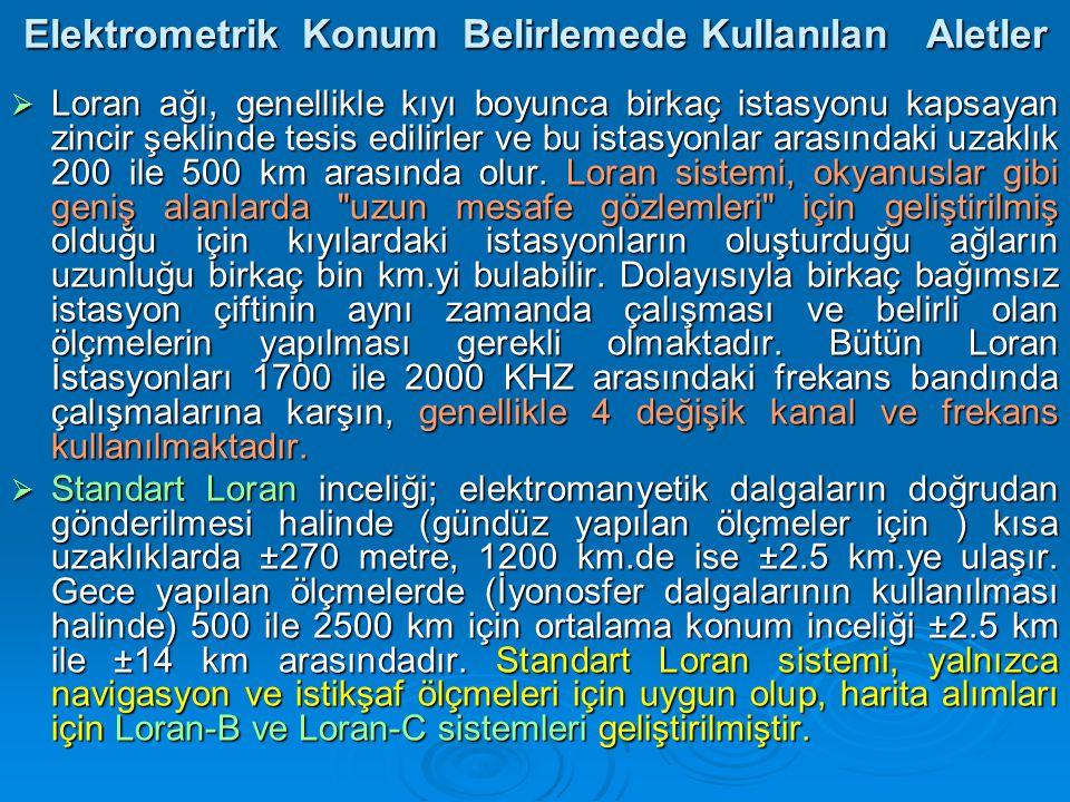 Elektrometrik Konum Belirlemede Kullanılan Aletler  Loran ağı, genellikle kıyı boyunca birkaç istasyonu kapsayan zincir şeklinde tesis edilirler ve bu istasyonlar arasındaki uzaklık 200 ile 500 km arasında olur.