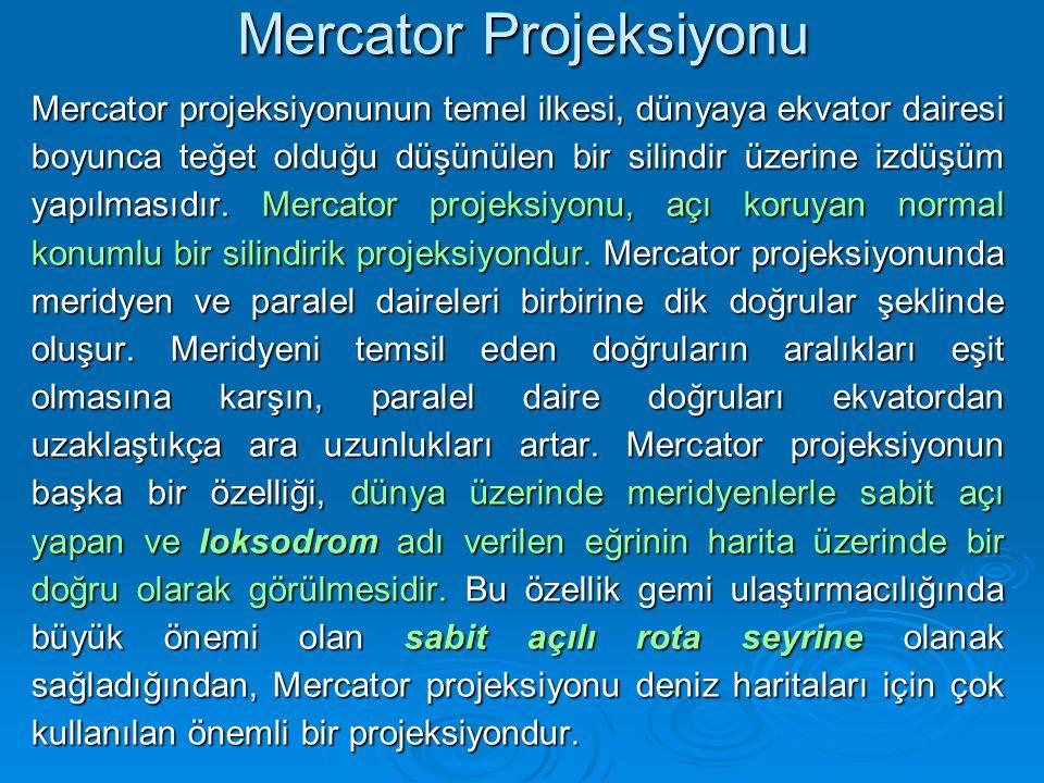 Mercator Projeksiyonu Mercator projeksiyonunun temel ilkesi, dünyaya ekvator dairesi boyunca teğet olduğu düşünülen bir silindir üzerine izdüşüm yapılmasıdır.
