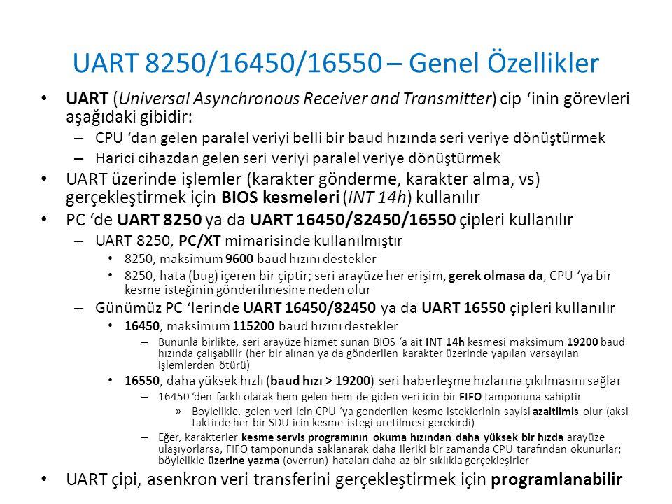 UART 8250/16450/16550 – Genel Özellikler • UART (Universal Asynchronous Receiver and Transmitter) cip 'inin görevleri aşağıdaki gibidir: – CPU 'dan ge