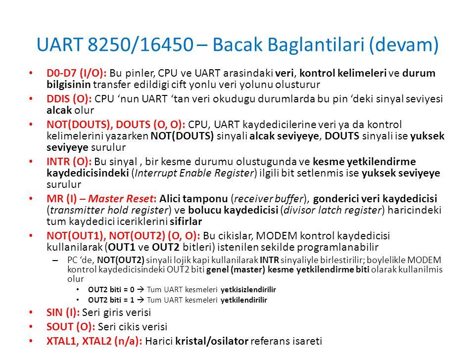 UART 8250/16450 – Bacak Baglantilari (devam) • D0-D7 (I/O): Bu pinler, CPU ve UART arasindaki veri, kontrol kelimeleri ve durum bilgisinin transfer ed