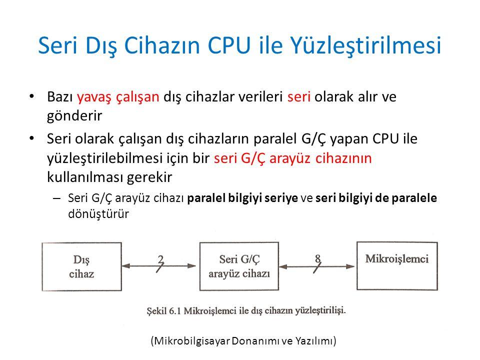 Seri Dış Cihazın CPU ile Yüzleştirilmesi • Bazı yavaş çalışan dış cihazlar verileri seri olarak alır ve gönderir • Seri olarak çalışan dış cihazların