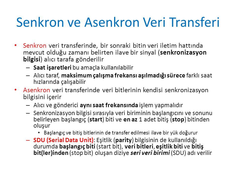 Senkron ve Asenkron Veri Transferi • Senkron veri transferinde, bir sonraki bitin veri iletim hattında mevcut olduğu zamanı belirten ilave bir sinyal