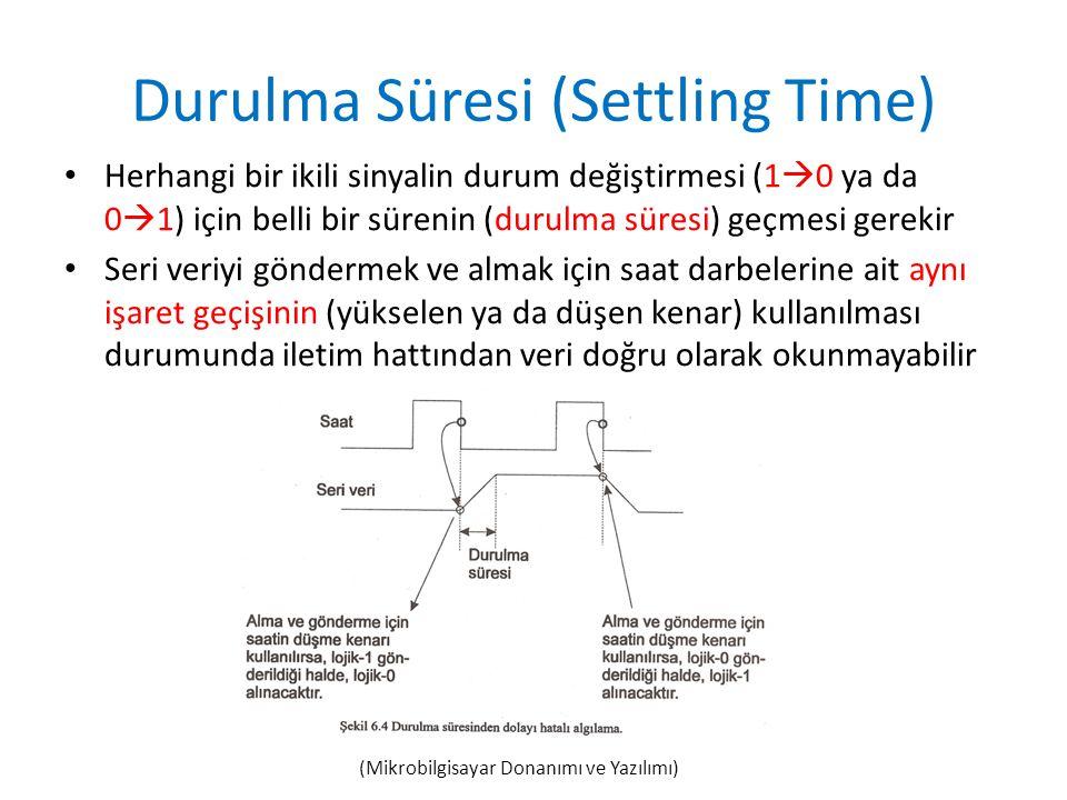 Durulma Süresi (Settling Time) • Herhangi bir ikili sinyalin durum değiştirmesi (1  0 ya da 0  1) için belli bir sürenin (durulma süresi) geçmesi ge