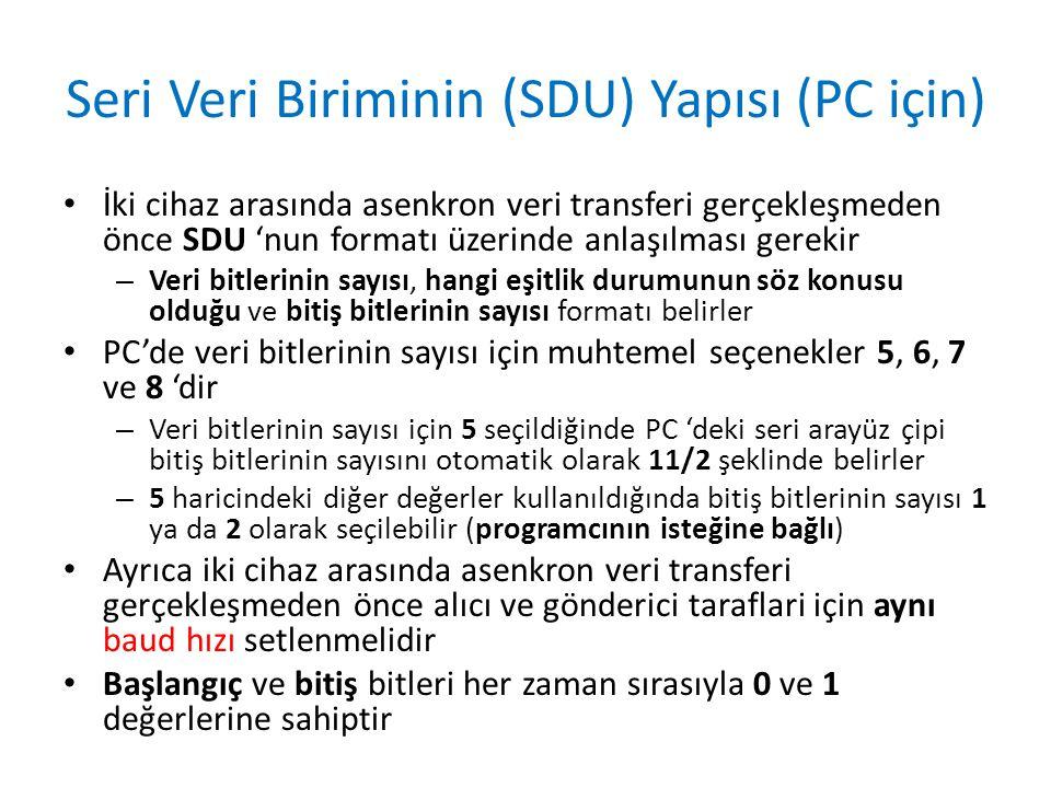 Seri Veri Biriminin (SDU) Yapısı (PC için) • İki cihaz arasında asenkron veri transferi gerçekleşmeden önce SDU 'nun formatı üzerinde anlaşılması gere