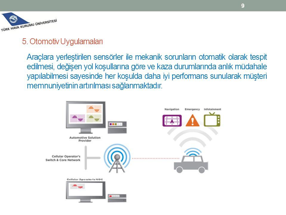 Araçlara yerleştirilen sensörler ile mekanik sorunların otomatik olarak tespit edilmesi, değişen yol koşullarına göre ve kaza durumlarında anlık müdah