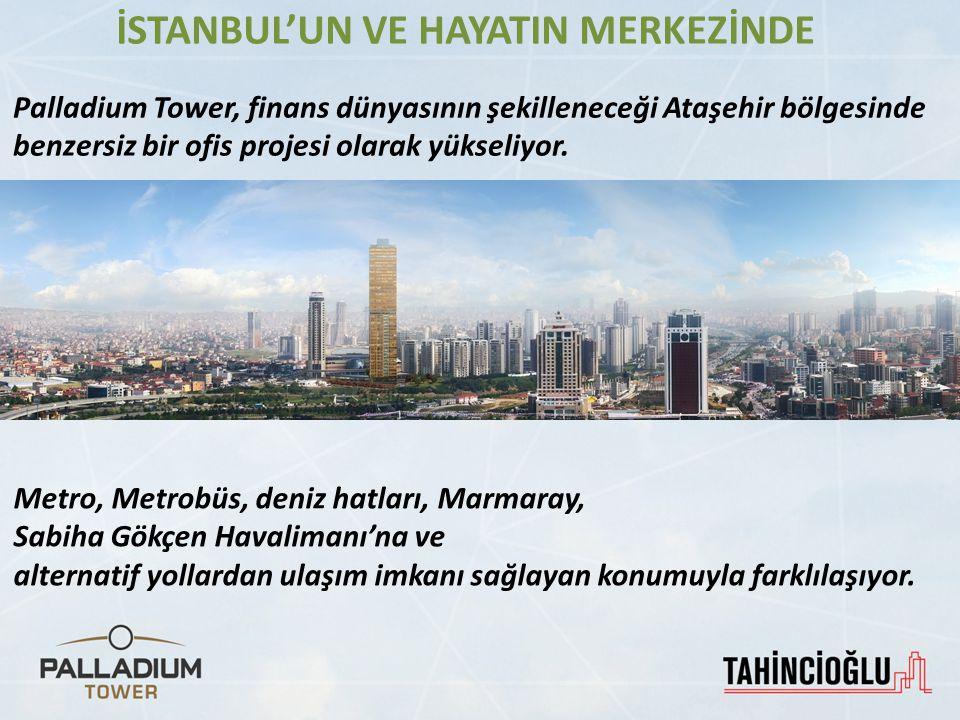 Palladium Tower, finans dünyasının şekilleneceği Ataşehir bölgesinde benzersiz bir ofis projesi olarak yükseliyor. Metro, Metrobüs, deniz hatları, Mar