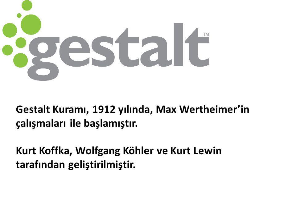 Gestalt Kuramı, 1912 yılında, Max Wertheimer'in çalışmaları ile başlamıştır. Kurt Koffka, Wolfgang Köhler ve Kurt Lewin tarafından geliştirilmiştir.
