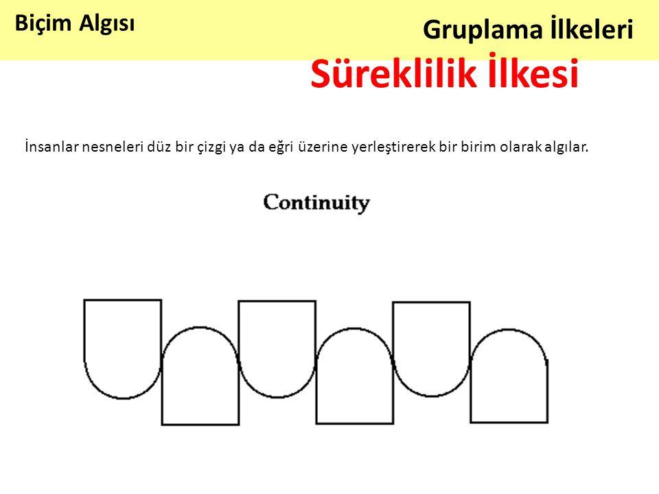 Biçim Algısı Gruplama İlkeleri Süreklilik İlkesi İnsanlar nesneleri düz bir çizgi ya da eğri üzerine yerleştirerek bir birim olarak algılar.