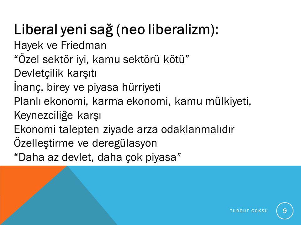 """TURGUT GÖKSU 9 Liberal yeni sağ (neo liberalizm): Hayek ve Friedman """"Özel sektör iyi, kamu sektörü kötü"""" Devletçilik karşıtı İnanç, birey ve piyasa hü"""