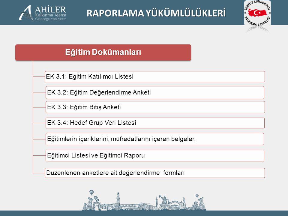 Eğitim Dokümanları EK 3.1: Eğitim Katılımcı Listesi EK 3.2: Eğitim Değerlendirme Anketi EK 3.3: Eğitim Bitiş Anketi EK 3.4: Hedef Grup Veri Listesi Eğ