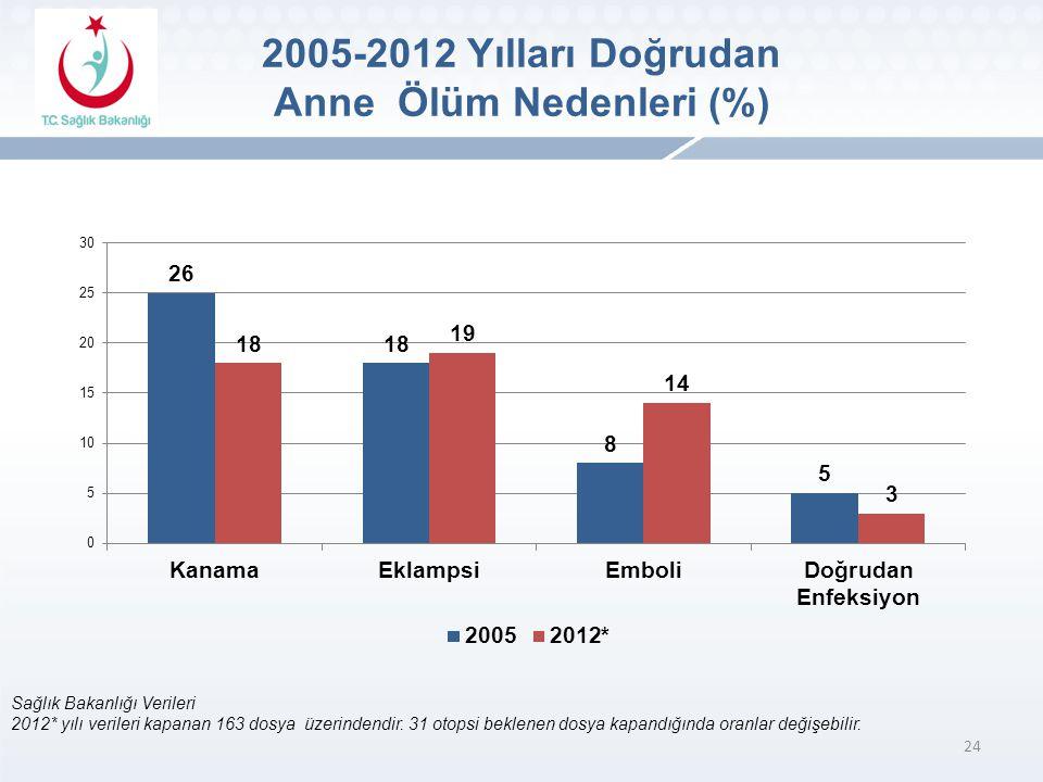24 Sağlık Bakanlığı Verileri 2012* yılı verileri kapanan 163 dosya üzerindendir.