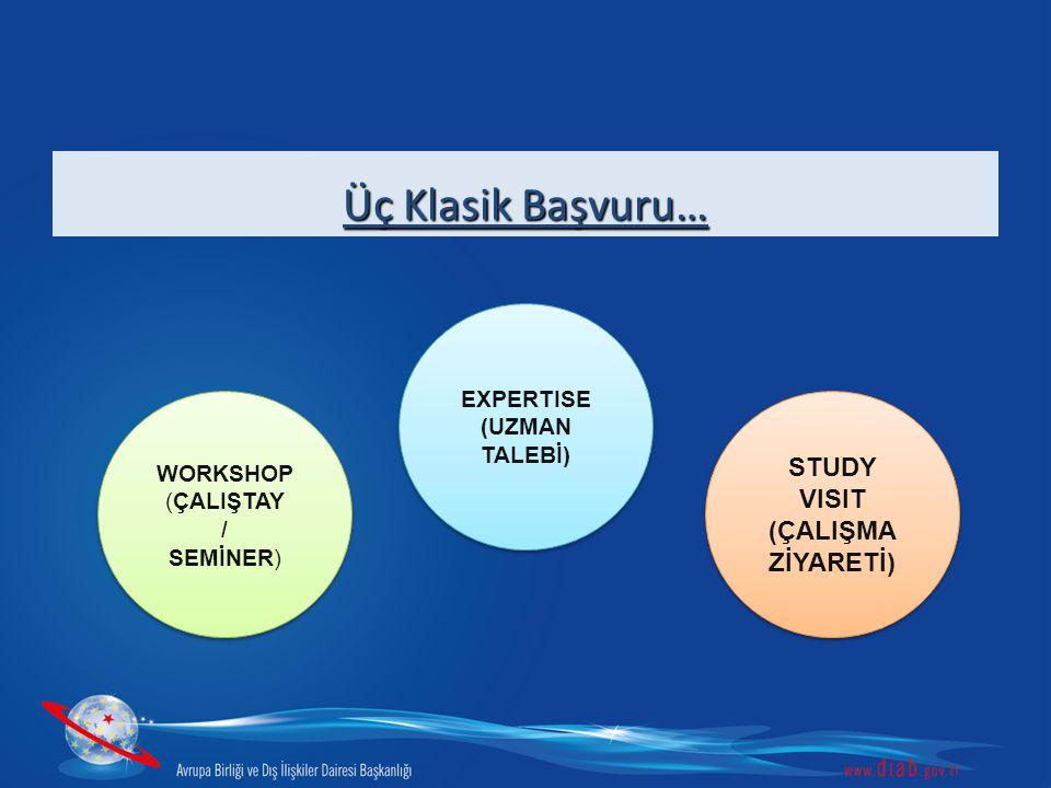 Üç Klasik Başvuru… WORKSHOP (ÇALIŞTAY / SEMİNER) WORKSHOP (ÇALIŞTAY / SEMİNER) EXPERTISE (UZMAN TALEBİ) EXPERTISE (UZMAN TALEBİ) STUDY VISIT (ÇALIŞMA