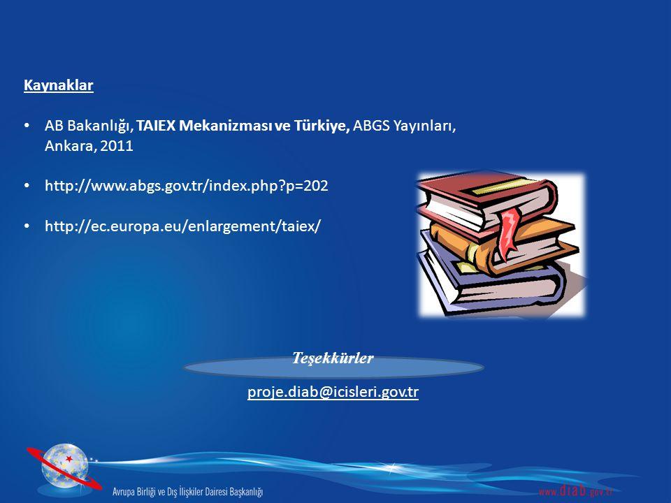Kaynaklar • AB Bakanlığı, TAIEX Mekanizması ve Türkiye, ABGS Yayınları, Ankara, 2011 • http://www.abgs.gov.tr/index.php?p=202 • http://ec.europa.eu/en
