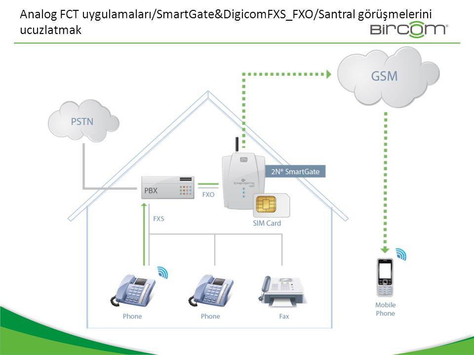 Analog FCT uygulamaları/SmartGate&DigicomFXS_FXO/Santral görüşmelerini ucuzlatmak