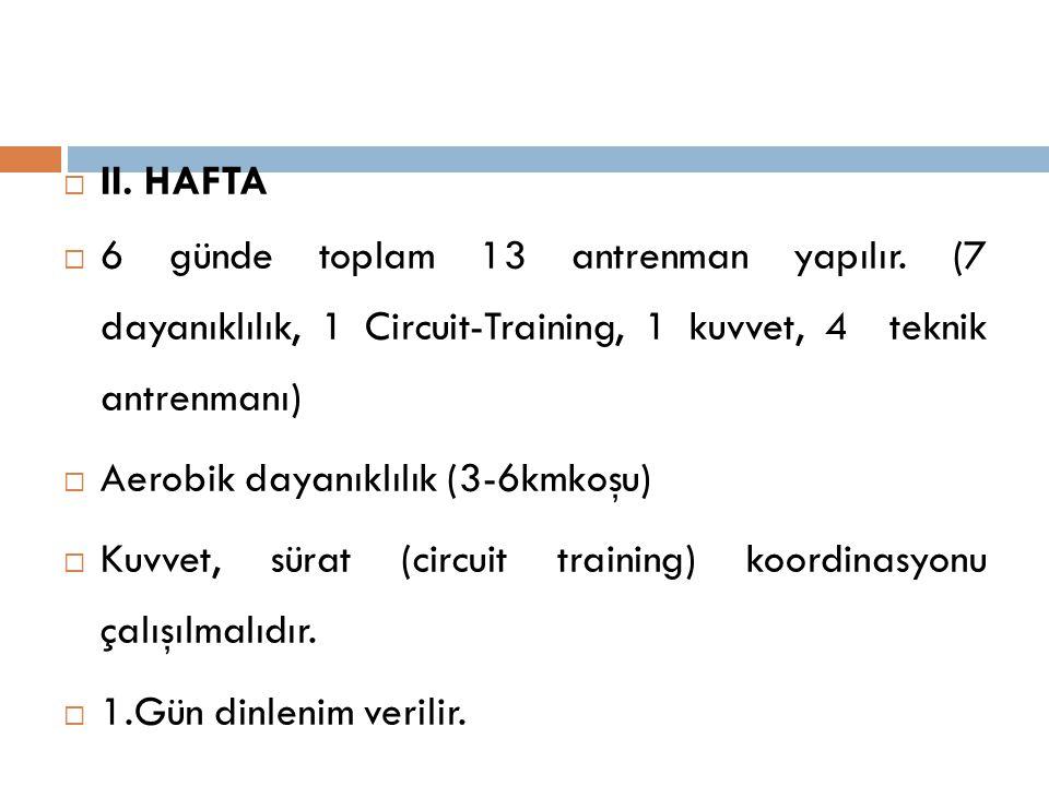  II. HAFTA  6 günde toplam 13 antrenman yapılır. (7 dayanıklılık, 1 Circuit-Training, 1 kuvvet, 4 teknik antrenmanı)  Aerobik dayanıklılık (3-6kmko