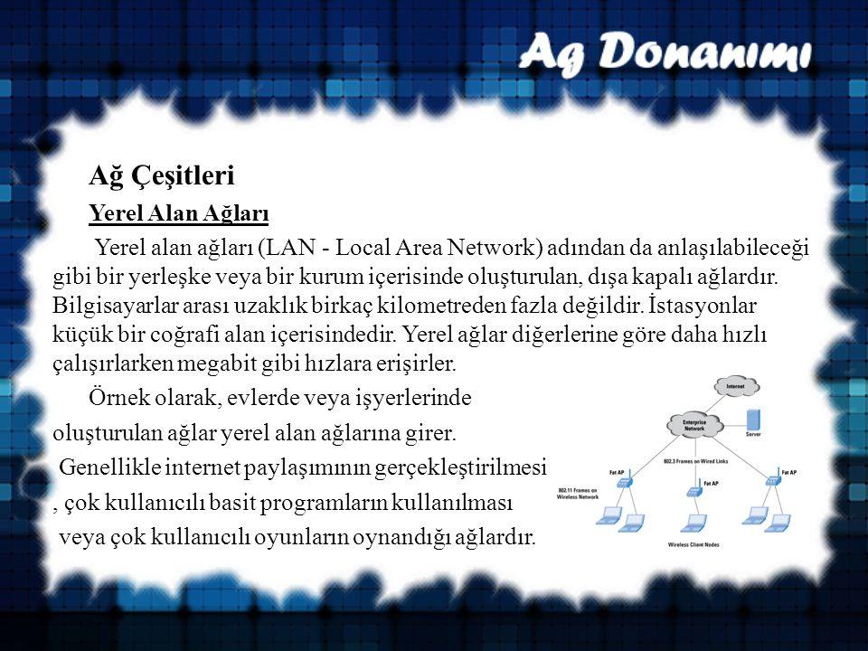 Ağ Çeşitleri Yerel Alan Ağları Yerel alan ağları (LAN - Local Area Network) adından da anlaşılabileceği gibi bir yerleşke veya bir kurum içerisinde oluşturulan, dışa kapalı ağlardır.