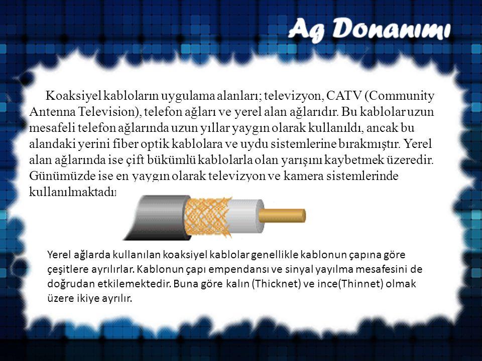 Koaksiyel kabloların uygulama alanları; televizyon, CATV (Community Antenna Television), telefon ağları ve yerel alan ağlarıdır.