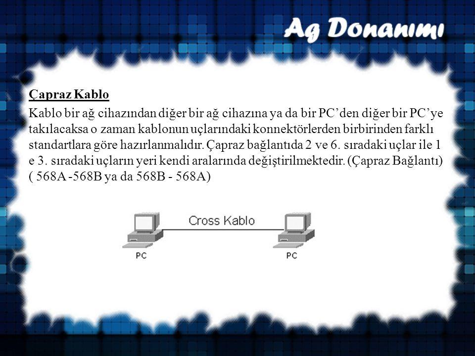 Çapraz Kablo Kablo bir ağ cihazından diğer bir ağ cihazına ya da bir PC'den diğer bir PC'ye takılacaksa o zaman kablonun uçlarındaki konnektörlerden birbirinden farklı standartlara göre hazırlanmalıdır.