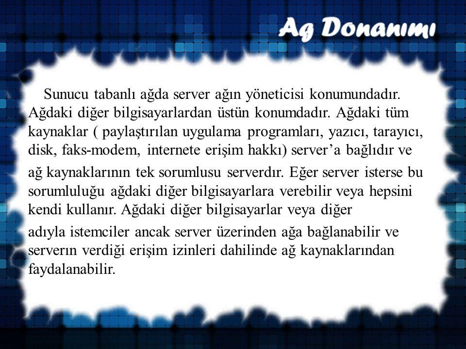 Sunucu tabanlı ağda server ağın yöneticisi konumundadır.