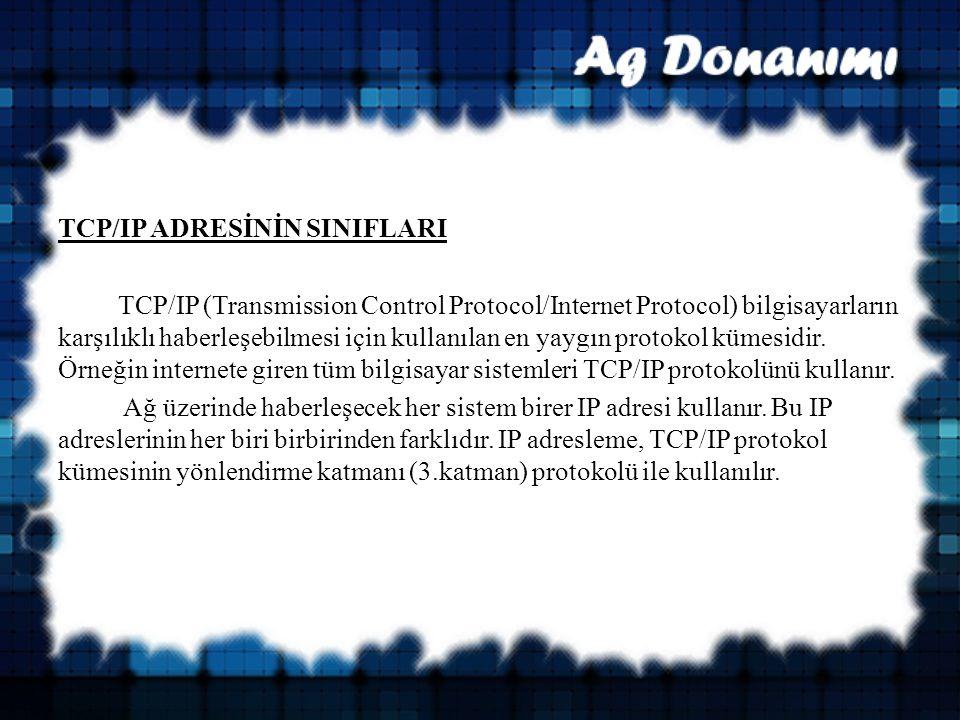 TCP/IP ADRESİNİN SINIFLARI TCP/IP (Transmission Control Protocol/Internet Protocol) bilgisayarların karşılıklı haberleşebilmesi için kullanılan en yaygın protokol kümesidir.