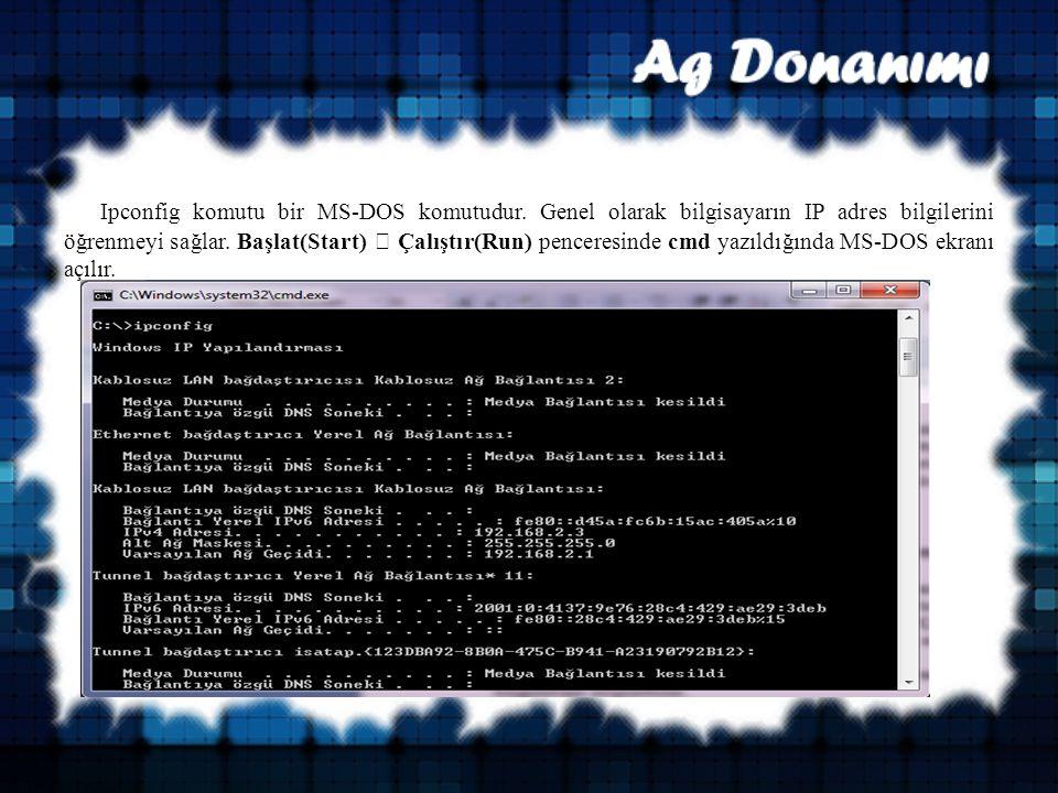Ipconfig komutu bir MS-DOS komutudur.