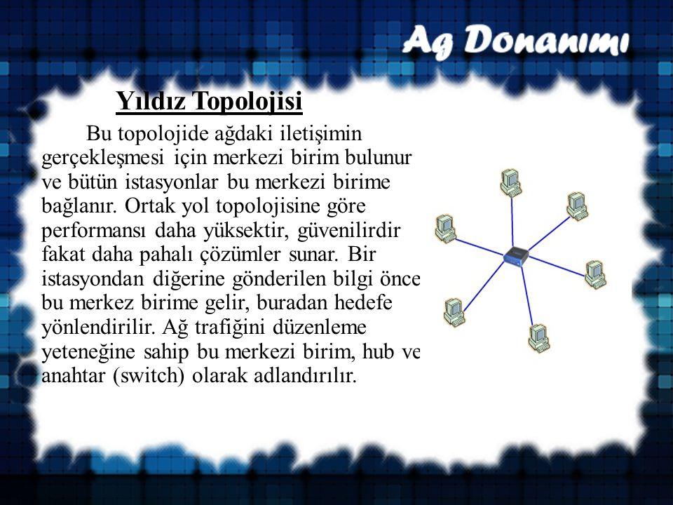 Yıldız Topolojisi Bu topolojide ağdaki iletişimin gerçekleşmesi için merkezi birim bulunur ve bütün istasyonlar bu merkezi birime bağlanır.