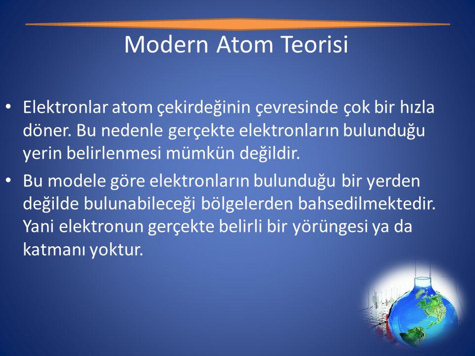 Modern Atom Teorisi • Elektronlar atom çekirdeğinin çevresinde çok bir hızla döner.