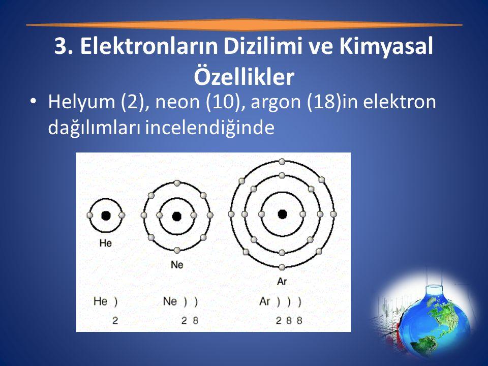 3. Elektronların Dizilimi ve Kimyasal Özellikler • Helyum (2), neon (10), argon (18)in elektron dağılımları incelendiğinde