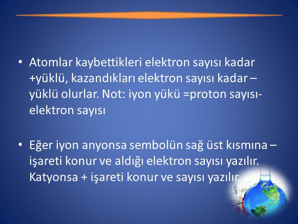 • Atomlar kaybettikleri elektron sayısı kadar +yüklü, kazandıkları elektron sayısı kadar – yüklü olurlar.