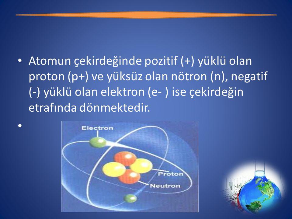 • Atomun çekirdeğinde pozitif (+) yüklü olan proton (p+) ve yüksüz olan nötron (n), negatif (-) yüklü olan elektron (e- ) ise çekirdeğin etrafında dönmektedir.
