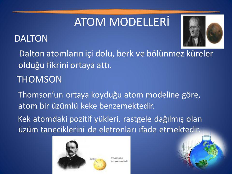 ATOM MODELLERİ DALTON Dalton atomların içi dolu, berk ve bölünmez küreler olduğu fikrini ortaya attı.