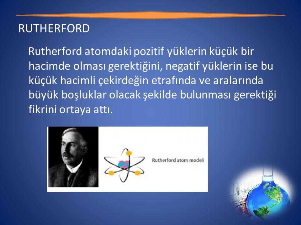 RUTHERFORD Rutherford atomdaki pozitif yüklerin küçük bir hacimde olması gerektiğini, negatif yüklerin ise bu küçük hacimli çekirdeğin etrafında ve aralarında büyük boşluklar olacak şekilde bulunması gerektiği fikrini ortaya attı.