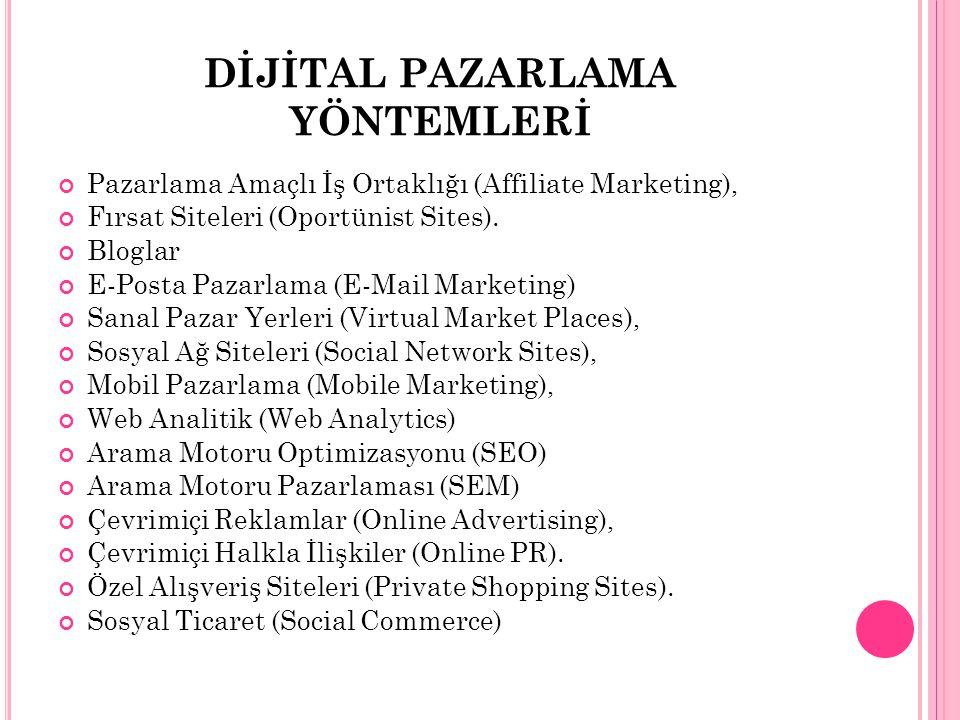 DİJİTAL PAZARLAMA YÖNTEMLERİ Pazarlama Amaçlı İş Ortaklığı (Affiliate Marketing), Fırsat Siteleri (Oportünist Sites). Bloglar E-Posta Pazarlama (E-Mai