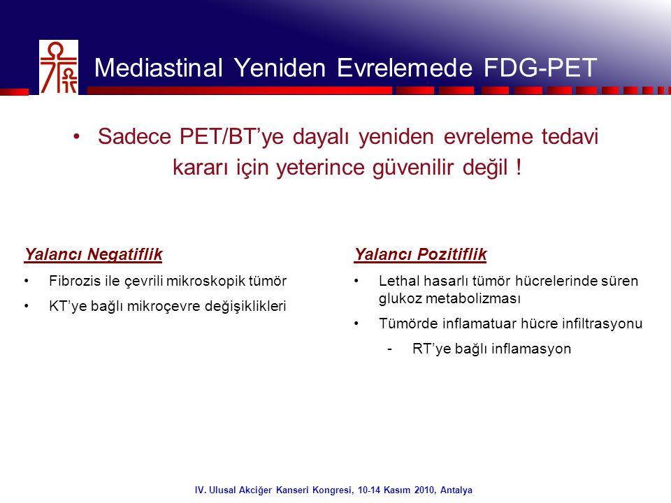 12/32 IV. Ulusal Akciğer Kanseri Kongresi, 10-14 Kasım 2010, Antalya Mediastinal Yeniden Evrelemede FDG-PET •Sadece PET/BT'ye dayalı yeniden evreleme