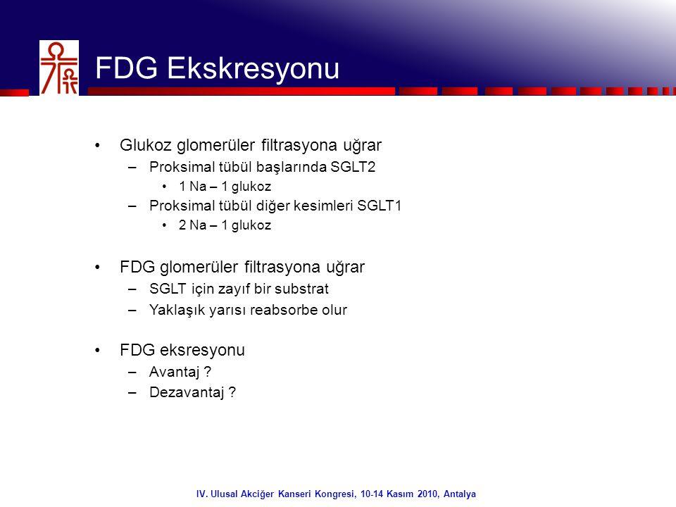 21/32 IV. Ulusal Akciğer Kanseri Kongresi, 10-14 Kasım 2010, Antalya FDG Ekskresyonu •Glukoz glomerüler filtrasyona uğrar –Proksimal tübül başlarında
