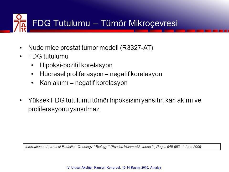 24/32 IV. Ulusal Akciğer Kanseri Kongresi, 10-14 Kasım 2010, Antalya FDG Tutulumu – Tümör Mikroçevresi •Nude mice prostat tümör modeli (R3327-AT) •FDG