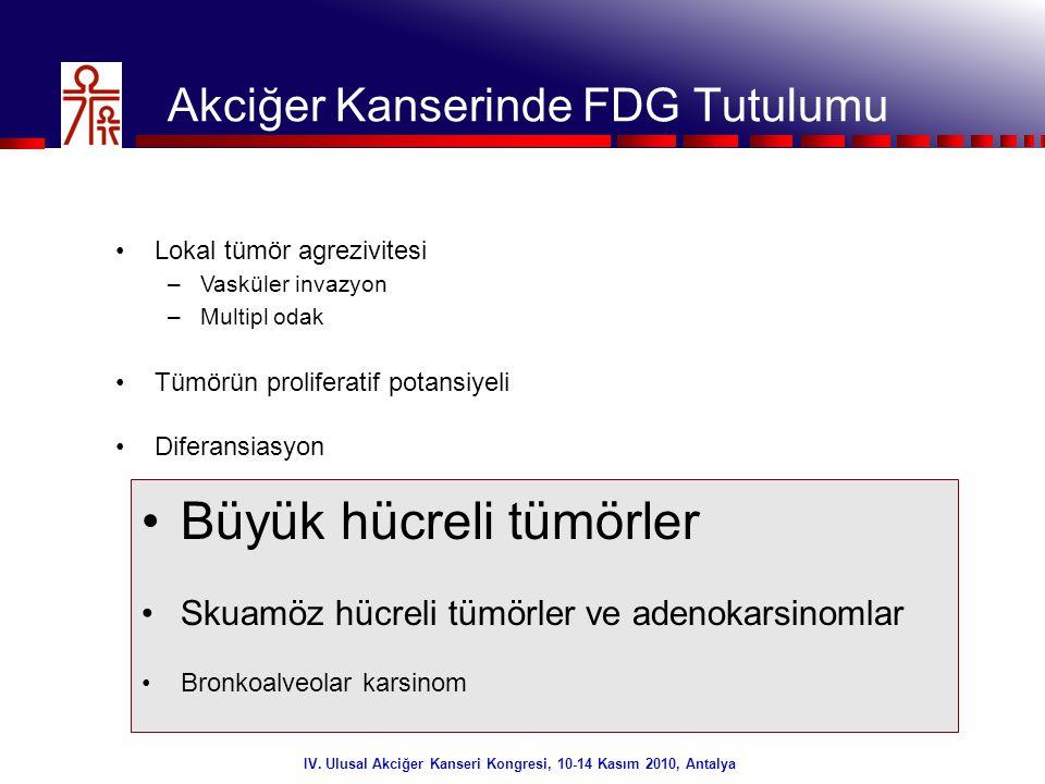 27/32 IV. Ulusal Akciğer Kanseri Kongresi, 10-14 Kasım 2010, Antalya Akciğer Kanserinde FDG Tutulumu •Lokal tümör agrezivitesi –Vasküler invazyon –Mul