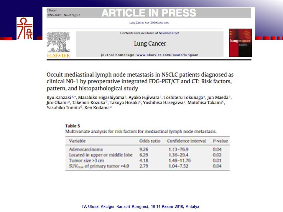 31/32 IV. Ulusal Akciğer Kanseri Kongresi, 10-14 Kasım 2010, Antalya