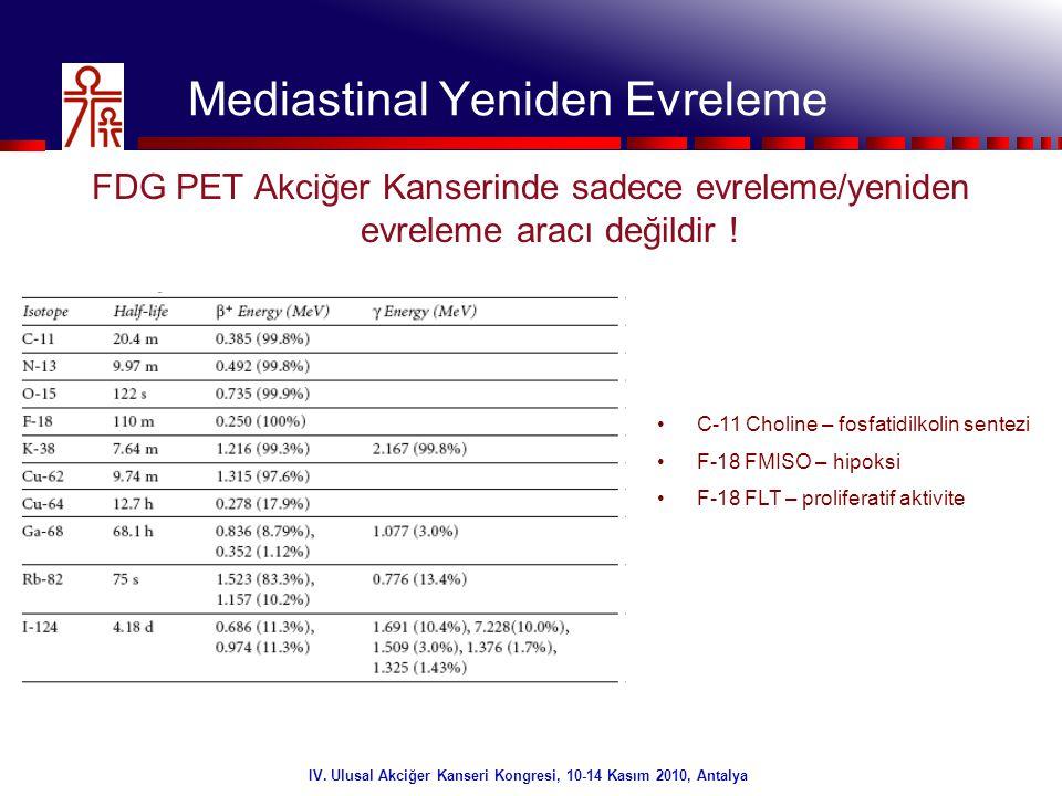 32/32 Mediastinal Yeniden Evreleme FDG PET Akciğer Kanserinde sadece evreleme/yeniden evreleme aracı değildir ! IV. Ulusal Akciğer Kanseri Kongresi, 1