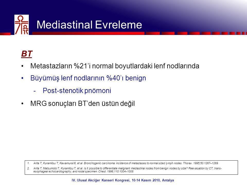 4/32 Mediastinal Evreleme BT •Metastazların %21'i normal boyutlardaki lenf nodlarında •Büyümüş lenf nodlarının %40'ı benign -Post-stenotik pnömoni •MR