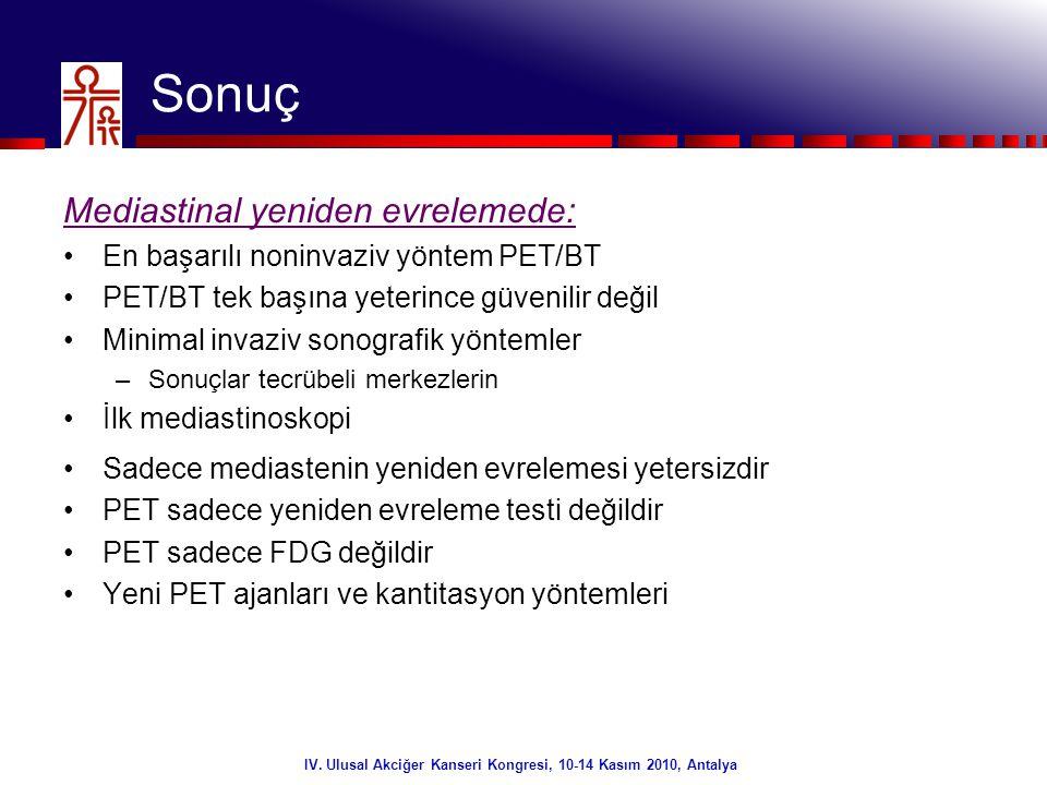 43/32 Sonuç IV. Ulusal Akciğer Kanseri Kongresi, 10-14 Kasım 2010, Antalya Mediastinal yeniden evrelemede: •En başarılı noninvaziv yöntem PET/BT •PET/